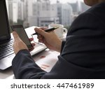 businessman working business... | Shutterstock . vector #447461989