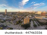 An aerial cityscape view of the Houston Galleria skyline, from the east, as seen from a drone quadcopter flying above Fountain View Dr near Westheimer Road with blue skies and white clouds.