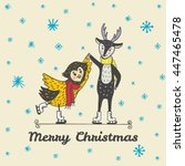 christmas card with hand drawn... | Shutterstock .eps vector #447465478