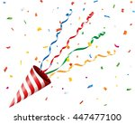 party cracker with confetti and ... | Shutterstock .eps vector #447477100