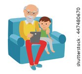 happy senior man sitting on the ... | Shutterstock .eps vector #447480670