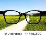glasses against natural scenery | Shutterstock . vector #447481570