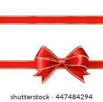 red ribbon bow with gold on... | Shutterstock . vector #447484294