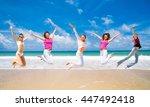 jumping wild flying beauties  | Shutterstock . vector #447492418