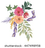 colorful floral collection with ... | Shutterstock . vector #447498958