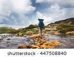 hiker man with backpack... | Shutterstock . vector #447508840