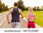 back view portrait of muscular... | Shutterstock . vector #447512089