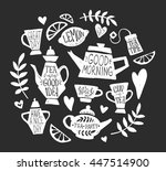 tea party handsketched doodle... | Shutterstock .eps vector #447514900