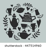 tea party handsketched doodle... | Shutterstock .eps vector #447514960