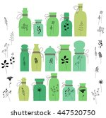 set with small vintage bottles. ... | Shutterstock .eps vector #447520750
