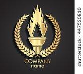 3d torch with laurel wreath... | Shutterstock .eps vector #447520810