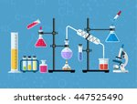 chemistry laboratory workspace... | Shutterstock . vector #447525490