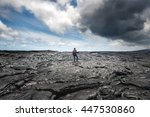 hiker standing over amazing... | Shutterstock . vector #447530860