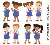 set boy and girl with backpacks ... | Shutterstock . vector #447531280
