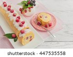 sponge roll with with cream and ... | Shutterstock . vector #447535558