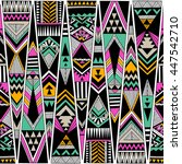 multicolor tribal Navajo vector seamless pattern. aztec fancy abstract geometric art print. ethnic hipster backdrop. Wallpaper, cloth design, fabric, paper, cover, textile, weave, wrapping. Hand drawn | Shutterstock vector #447542710