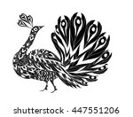 peacock ornamental hand drawn.... | Shutterstock .eps vector #447551206