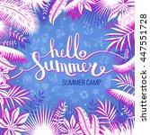 hello summer camp  inscription... | Shutterstock .eps vector #447551728