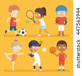 sport kids playing football ... | Shutterstock .eps vector #447563944