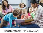 female teacher giving a lesson... | Shutterstock . vector #447567064
