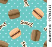 seamless pattern with macaroon... | Shutterstock . vector #447568618