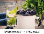 many fresh blackberry in white... | Shutterstock . vector #447575068