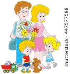 happy family together | Shutterstock .eps vector #447577588