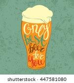 lettering on pint tulip or... | Shutterstock .eps vector #447581080