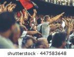 blurred crowd of spectators on... | Shutterstock . vector #447583648