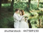 stylish couple of happy... | Shutterstock . vector #447589150