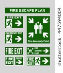 set of emergency exit banners... | Shutterstock .eps vector #447594004