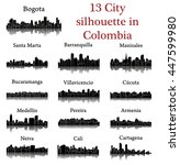 set of 13 city silhouette in
