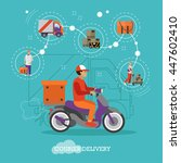 logistic and delivery courier... | Shutterstock .eps vector #447602410