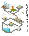 city. isometric buildings.  | Shutterstock . vector #447603403