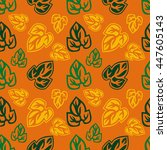 seamless pattern with leaves... | Shutterstock .eps vector #447605143