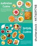 british and australian cuisine... | Shutterstock .eps vector #447609748