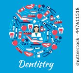 dentistry symbol with dentist... | Shutterstock .eps vector #447611518