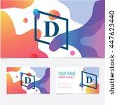 business card template. letter... | Shutterstock .eps vector #447623440