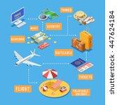 summer vacation travel planning ... | Shutterstock .eps vector #447624184