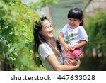 mother and daughter happy... | Shutterstock . vector #447633028