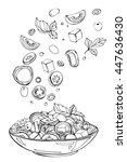 hand drawn sketch of fresh... | Shutterstock . vector #447636430