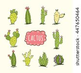 cactus collection in vector... | Shutterstock .eps vector #447650464