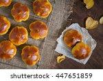 homemade pumpkin bread buns....   Shutterstock . vector #447651859