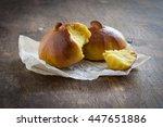 homemade pumpkin bread buns.... | Shutterstock . vector #447651886