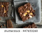 cake chocolate brownies on... | Shutterstock . vector #447653260