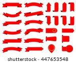 ribbon vector icon set red... | Shutterstock .eps vector #447653548
