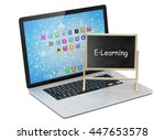 laptop with chalkboard  e... | Shutterstock . vector #447653578