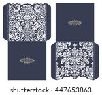 set of 2 wedding invitation... | Shutterstock .eps vector #447653863