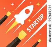startup business. rocket and... | Shutterstock .eps vector #447659794