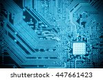 blue circuit board closeup ... | Shutterstock . vector #447661423